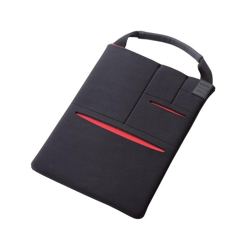 縦型タブレットケース マルチポケット付 TB-10CELLBKの1つ目の商品画像
