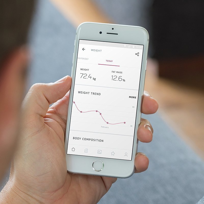 体重計で計測したデータを表示しているスマートフォン