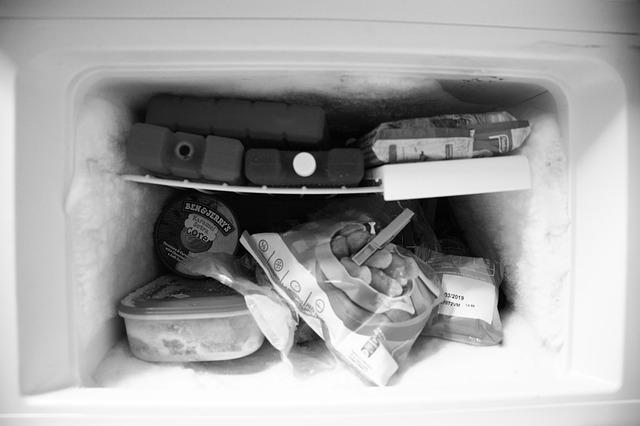 保冷剤を凍らせている冷凍庫