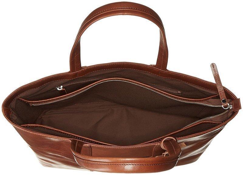 ファスナー式の革製トートバッグ