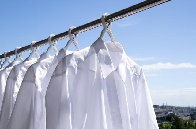 白シャツが干されている物干し竿