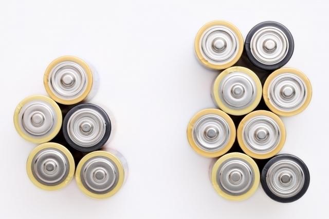 電池が並べられた画像