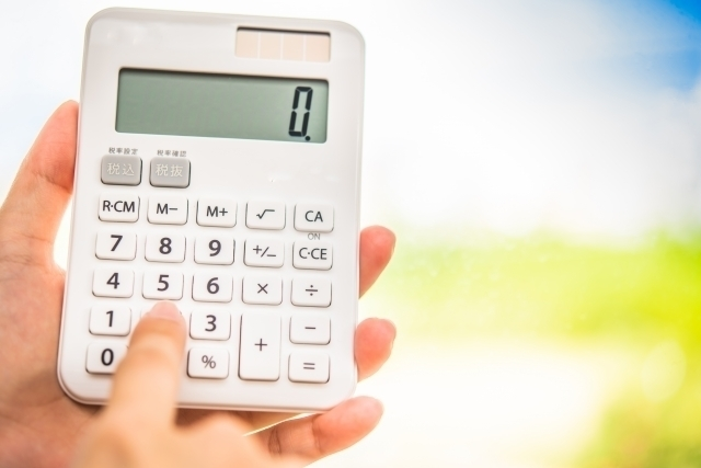 数字を入力中の電卓