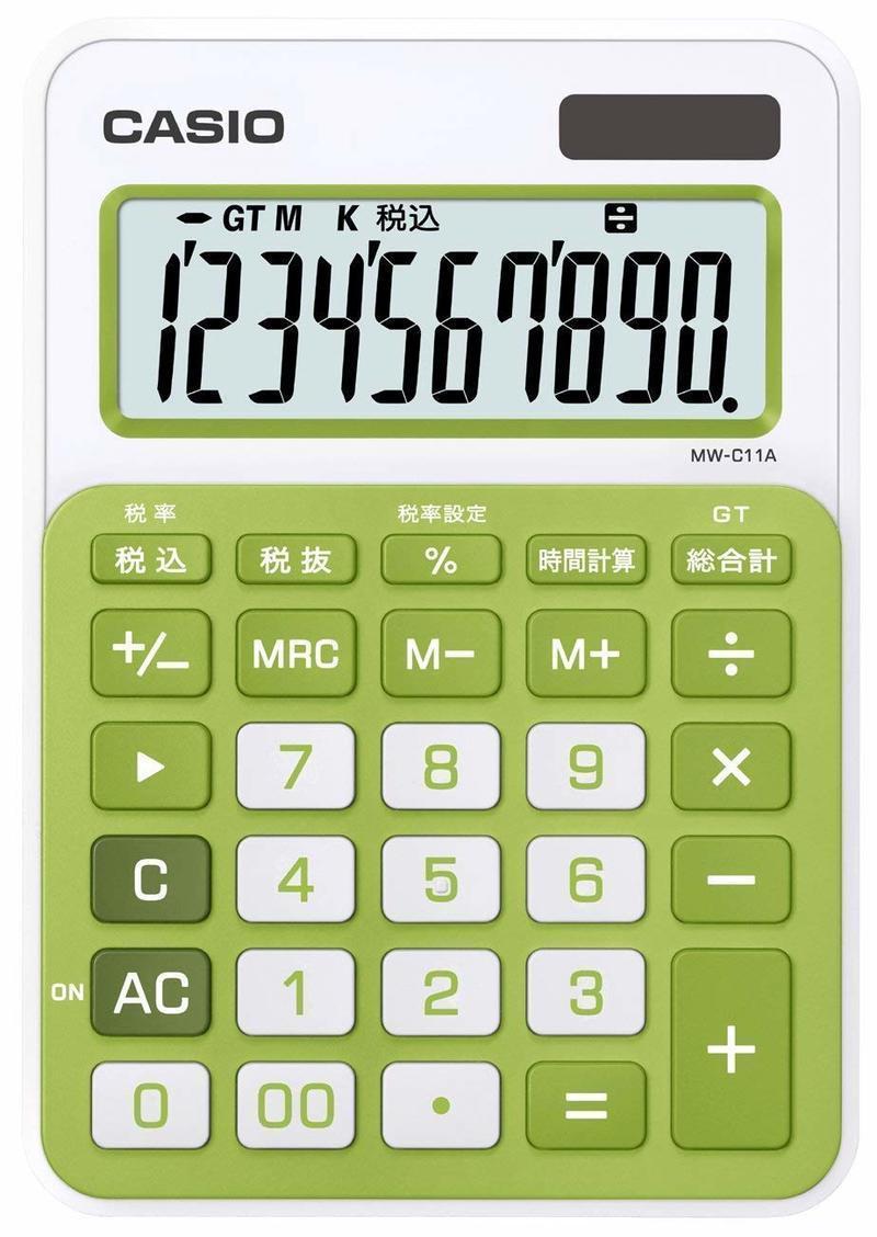 カラフル電卓 ミニジャストタイプ MW-C11Aの1つ目の商品画像