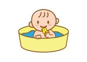 子供がビニールプールで遊んでいるイラスト